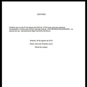 Intimação destinada a Jair Bolsonaro para que ele se manifestasse sobre as queimadas, com a data de entrega no dia 27 de agosto, às 17h04 - Reprodução