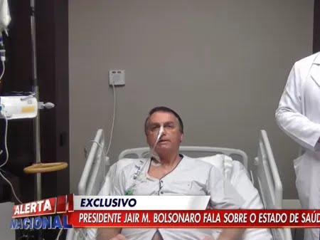"""""""De ontem para hoje evoluí, então a chance de cirurgia está bem afastada"""", disse Bolsonaro do hospital - Reprodução/YouTube"""